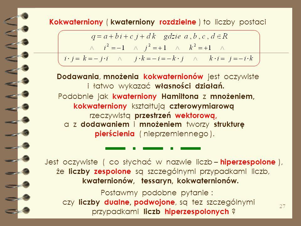 Kokwaterniony ( kwaterniony rozdzielne ) to liczby postaci