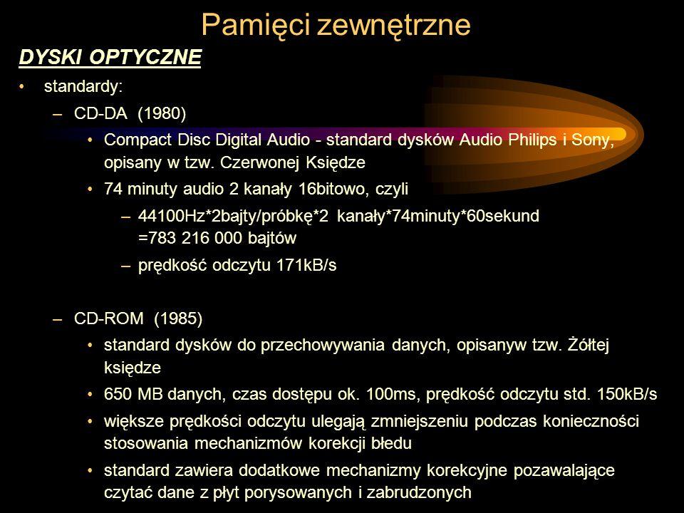 Pamięci zewnętrzne DYSKI OPTYCZNE standardy: CD-DA (1980)