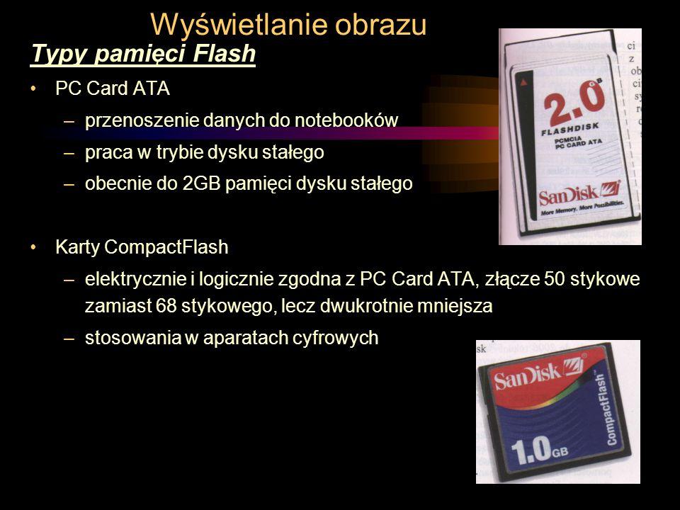 Wyświetlanie obrazu Typy pamięci Flash PC Card ATA