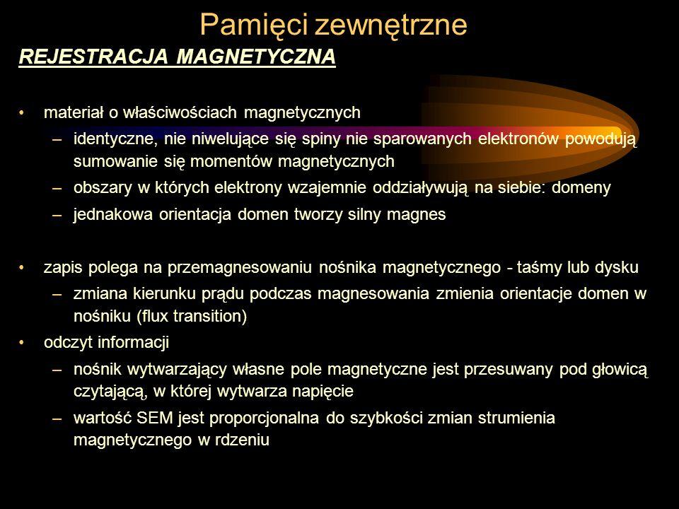 Pamięci zewnętrzne REJESTRACJA MAGNETYCZNA