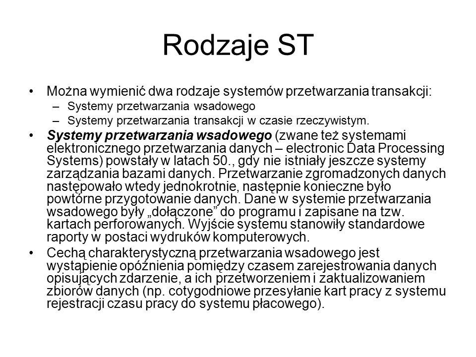 Rodzaje ST Można wymienić dwa rodzaje systemów przetwarzania transakcji: Systemy przetwarzania wsadowego.