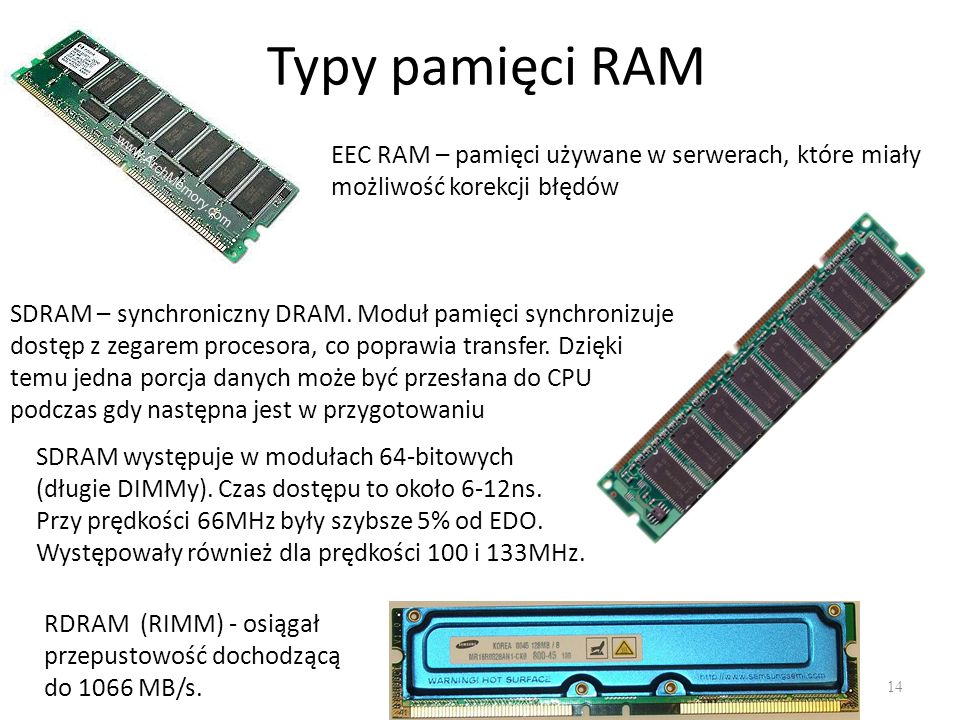 Typy pamięci RAM EEC RAM – pamięci używane w serwerach, które miały możliwość korekcji błędów.
