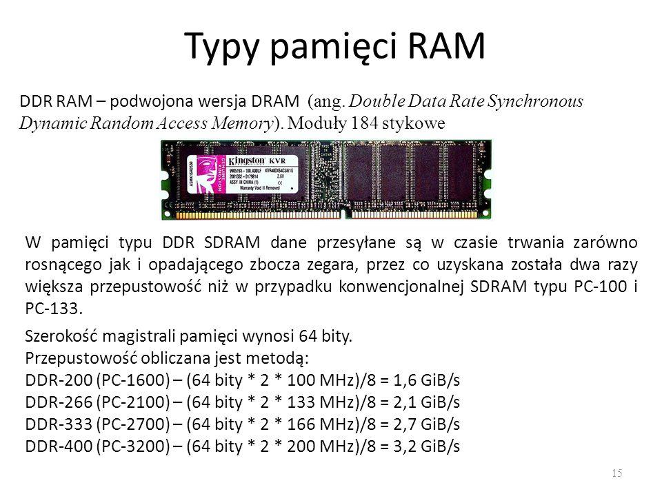 Typy pamięci RAM DDR RAM – podwojona wersja DRAM (ang. Double Data Rate Synchronous Dynamic Random Access Memory). Moduły 184 stykowe.