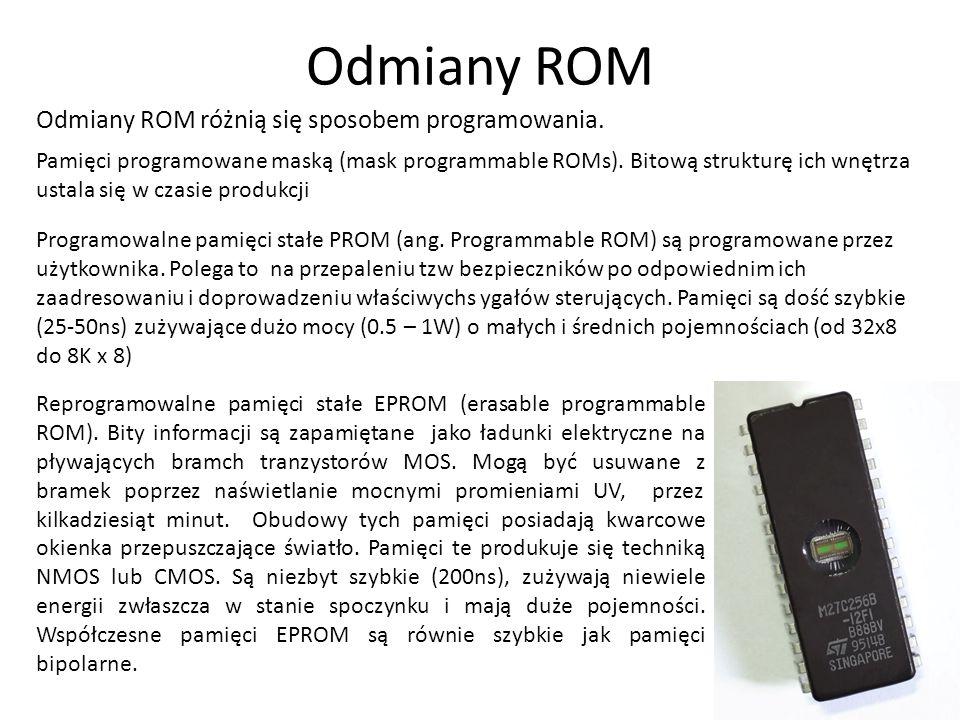 Odmiany ROM Odmiany ROM różnią się sposobem programowania.
