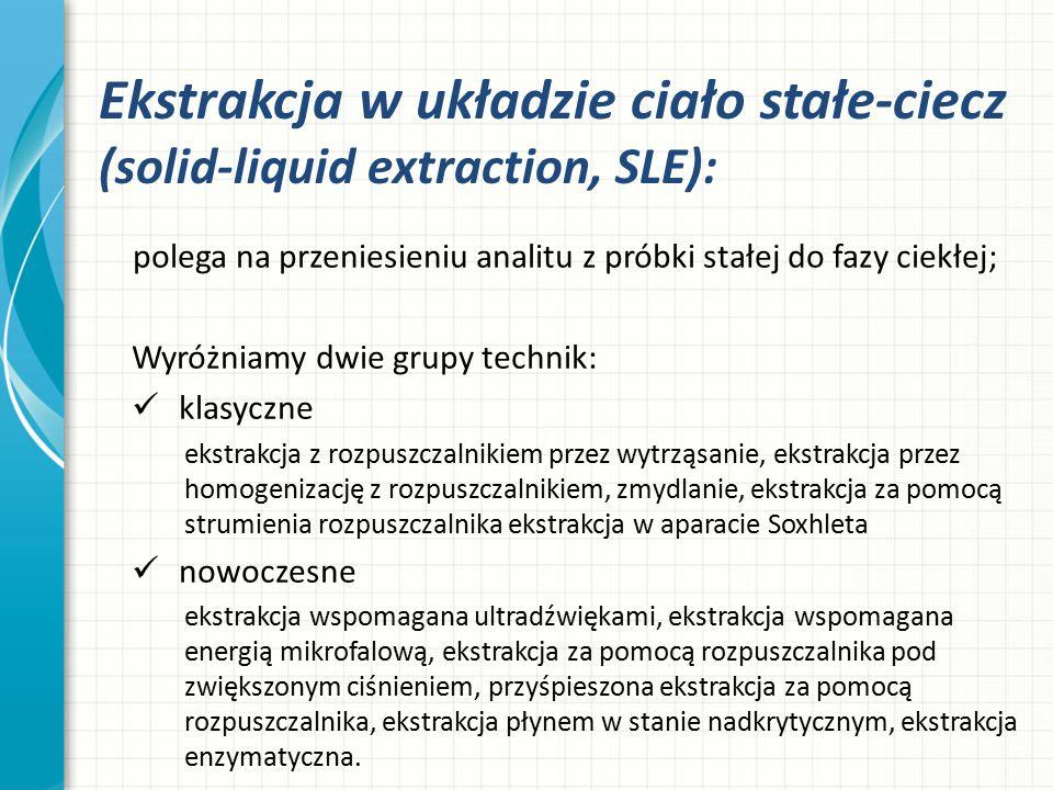Ekstrakcja w układzie ciało stałe-ciecz (solid-liquid extraction, SLE):