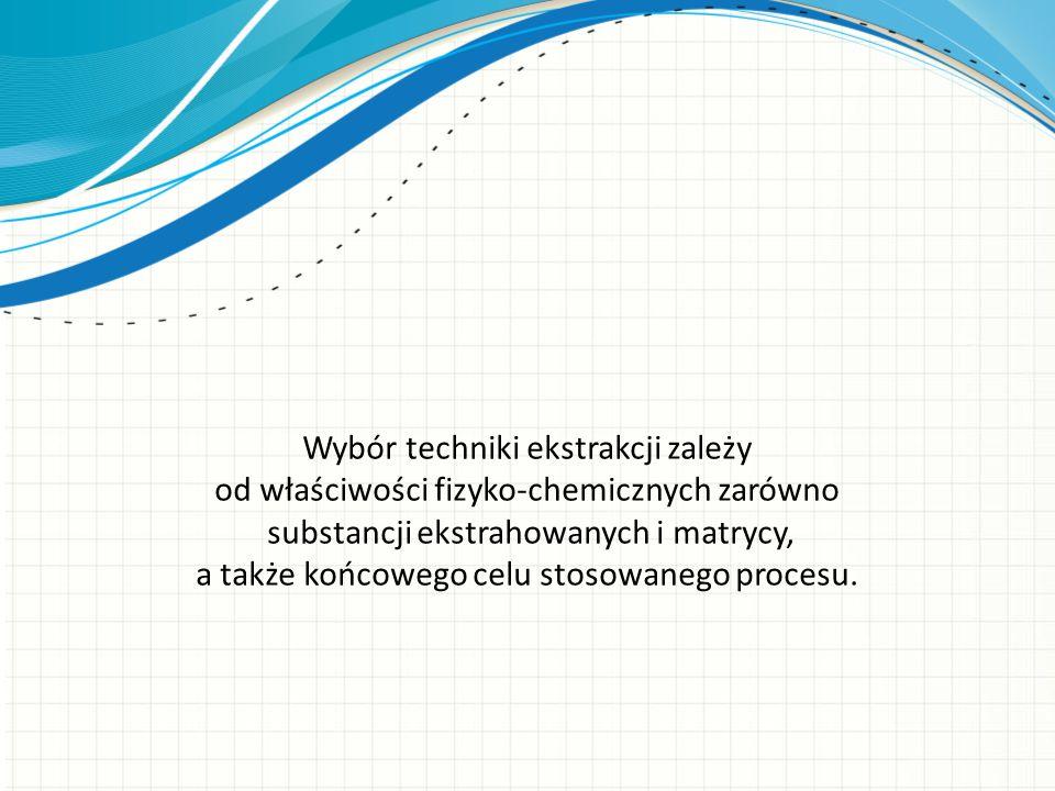 Wybór techniki ekstrakcji zależy od właściwości fizyko-chemicznych zarówno substancji ekstrahowanych i matrycy, a także końcowego celu stosowanego procesu.