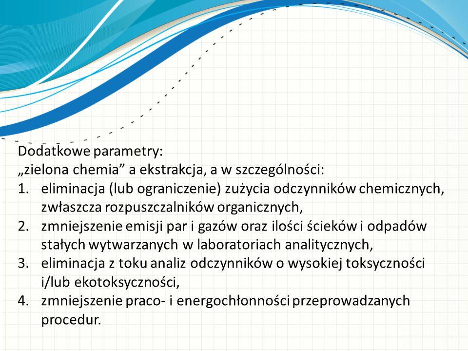 """Dodatkowe parametry: """"zielona chemia a ekstrakcja, a w szczególności:"""