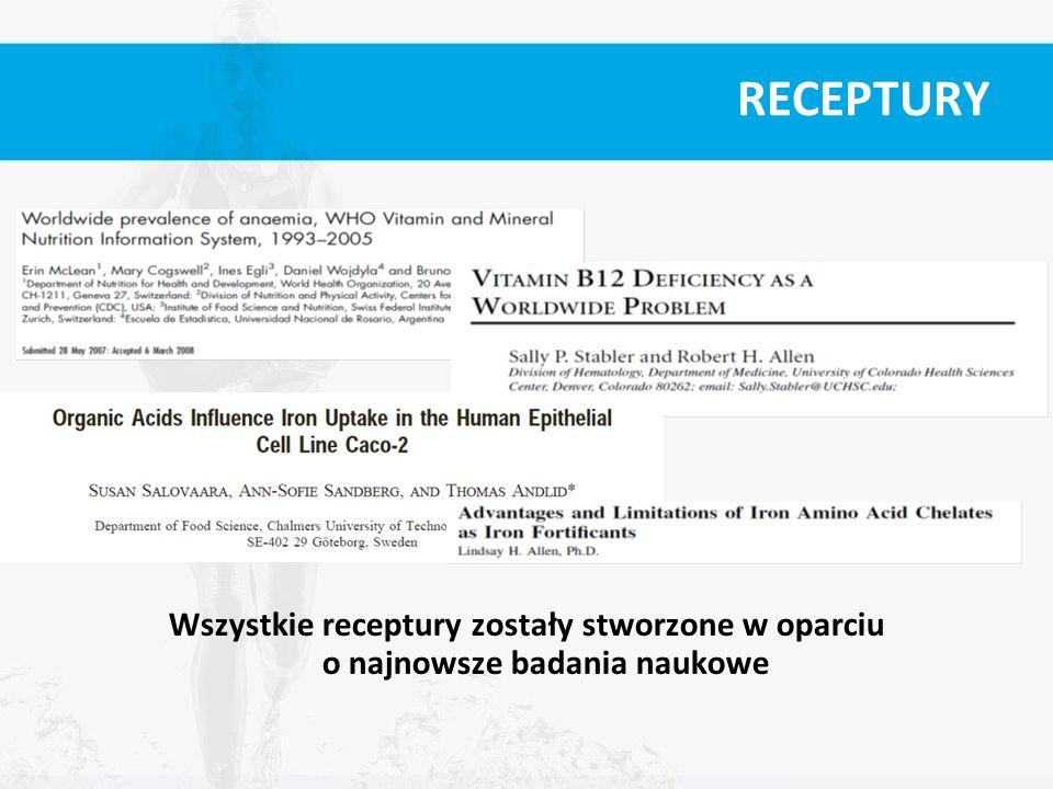 RECEPTURY Wszystkie receptury zostały stworzone w oparciu o najnowsze badania naukowe
