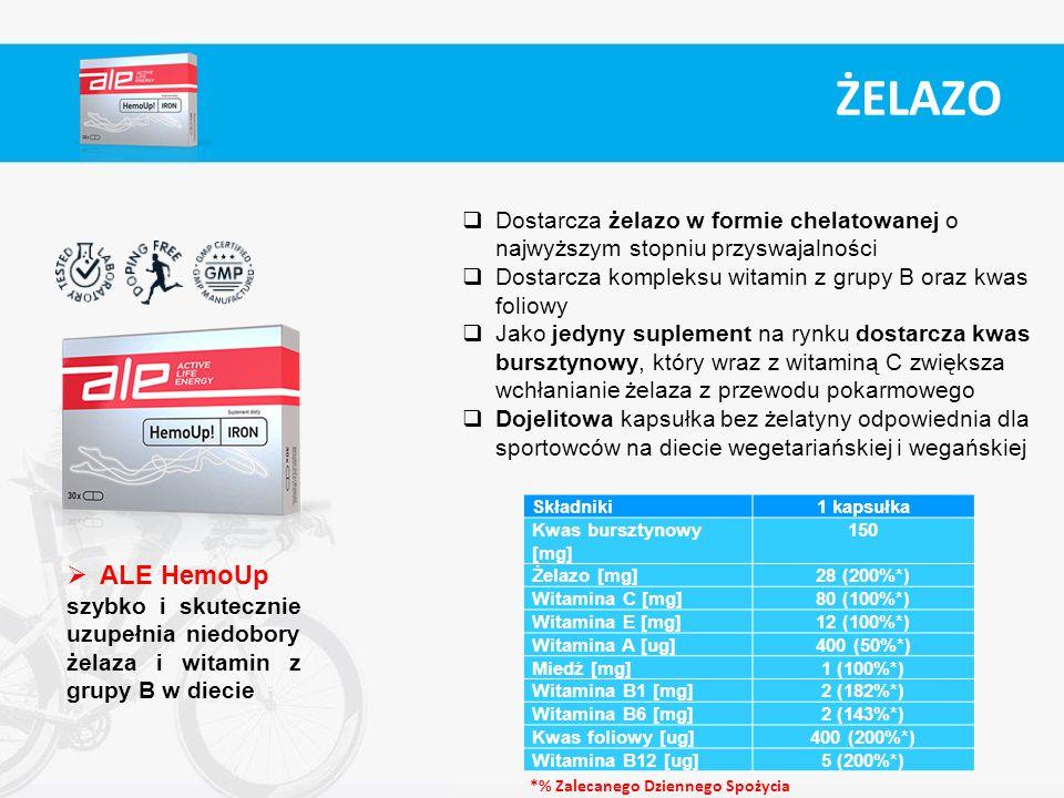 ŻELAZO Dostarcza żelazo w formie chelatowanej o najwyższym stopniu przyswajalności. Dostarcza kompleksu witamin z grupy B oraz kwas foliowy.