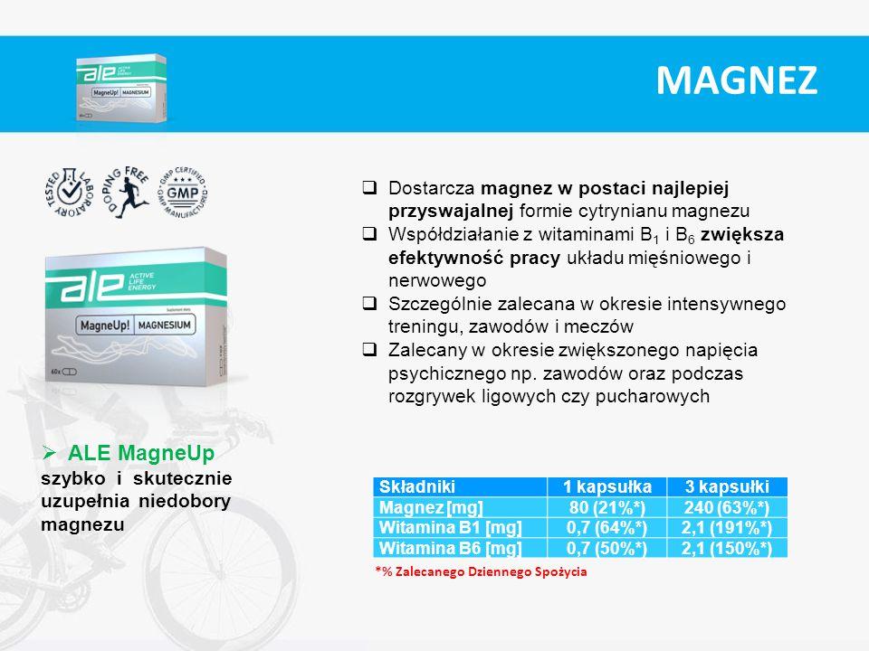 MAGNEZ Dostarcza magnez w postaci najlepiej przyswajalnej formie cytrynianu magnezu.