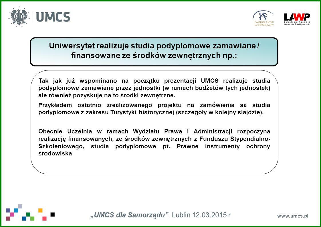 Uniwersytet realizuje studia podyplomowe zamawiane / finansowane ze środków zewnętrznych np.:
