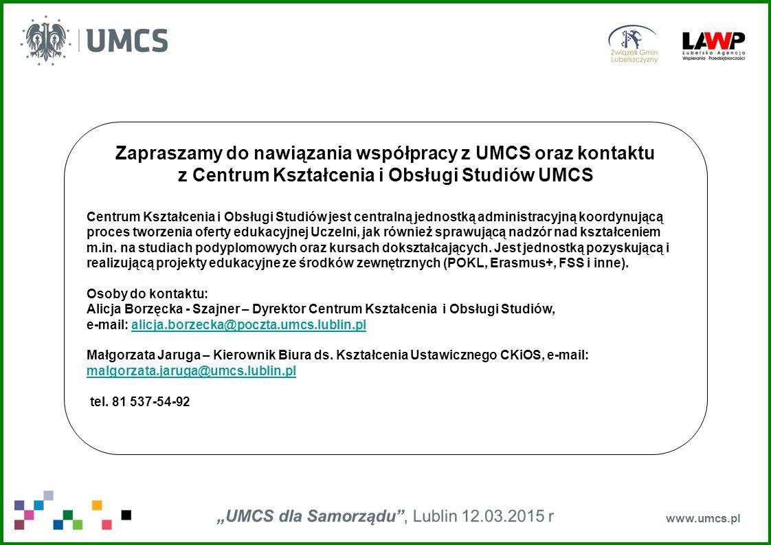 Zapraszamy do nawiązania współpracy z UMCS oraz kontaktu