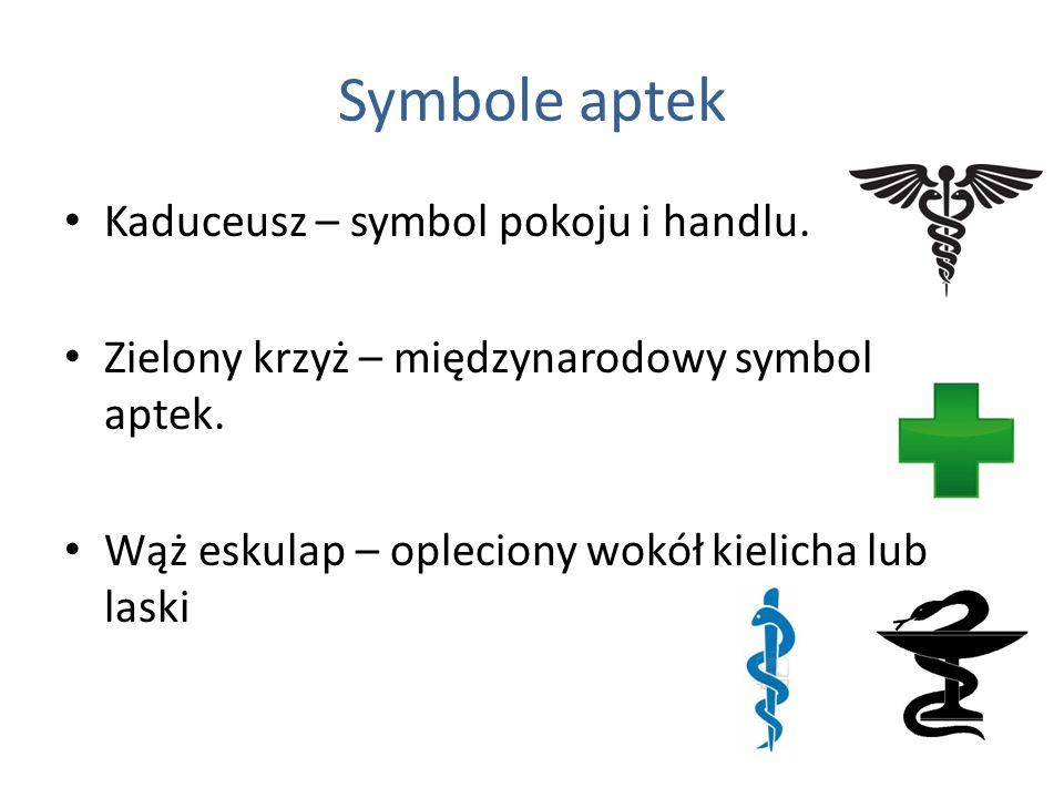 Symbole aptek Kaduceusz – symbol pokoju i handlu.