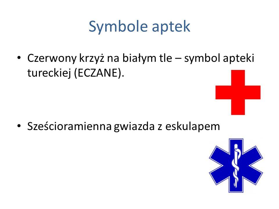 Symbole aptek Czerwony krzyż na białym tle – symbol apteki tureckiej (ECZANE).