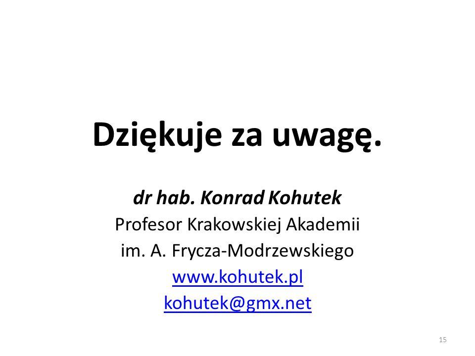 Dziękuje za uwagę. dr hab. Konrad Kohutek