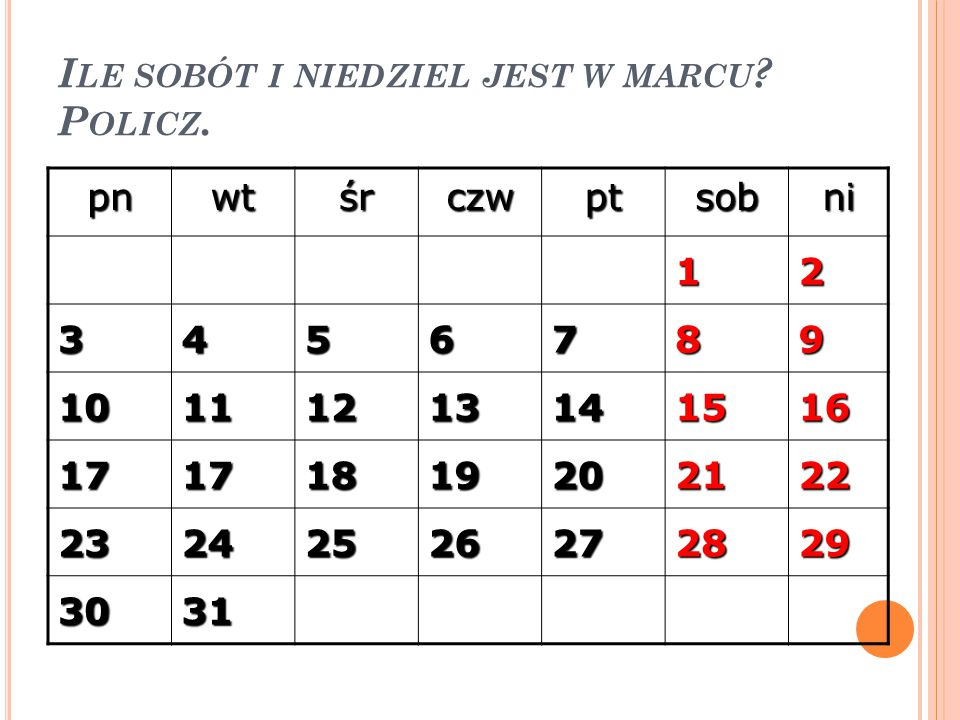Ile sobót i niedziel jest w marcu Policz.