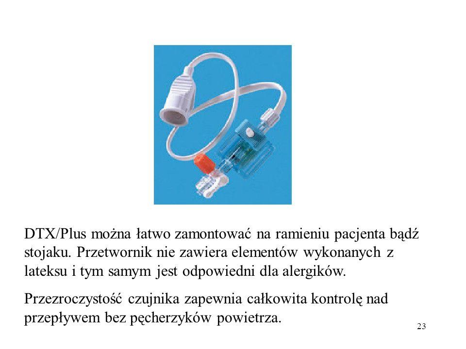 DTX/Plus można łatwo zamontować na ramieniu pacjenta bądź stojaku