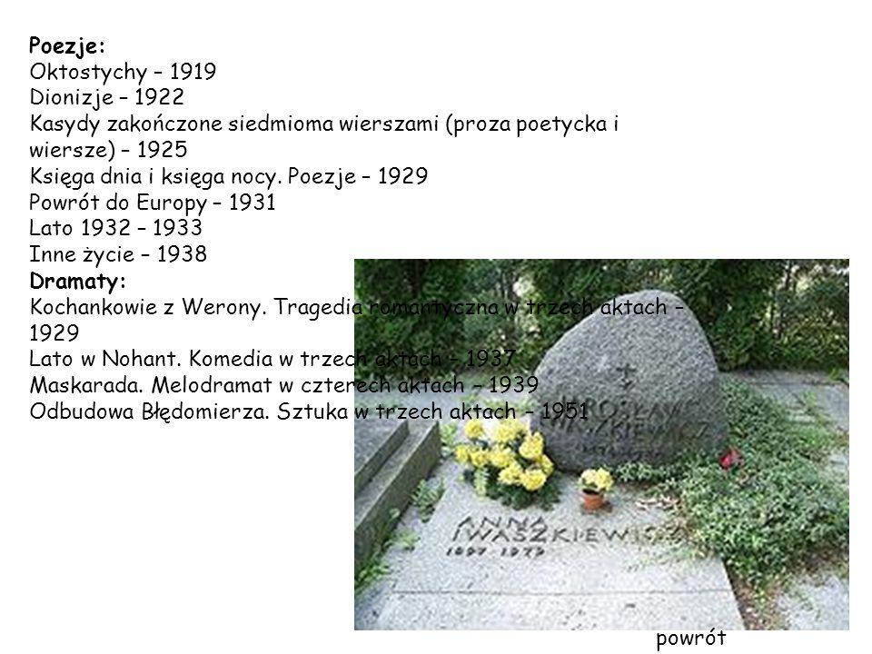 Poezje: Oktostychy – 1919. Dionizje – 1922. Kasydy zakończone siedmioma wierszami (proza poetycka i wiersze) – 1925.