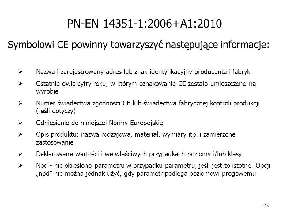 PN-EN 14351-1:2006+A1:2010 Symbolowi CE powinny towarzyszyć następujące informacje:
