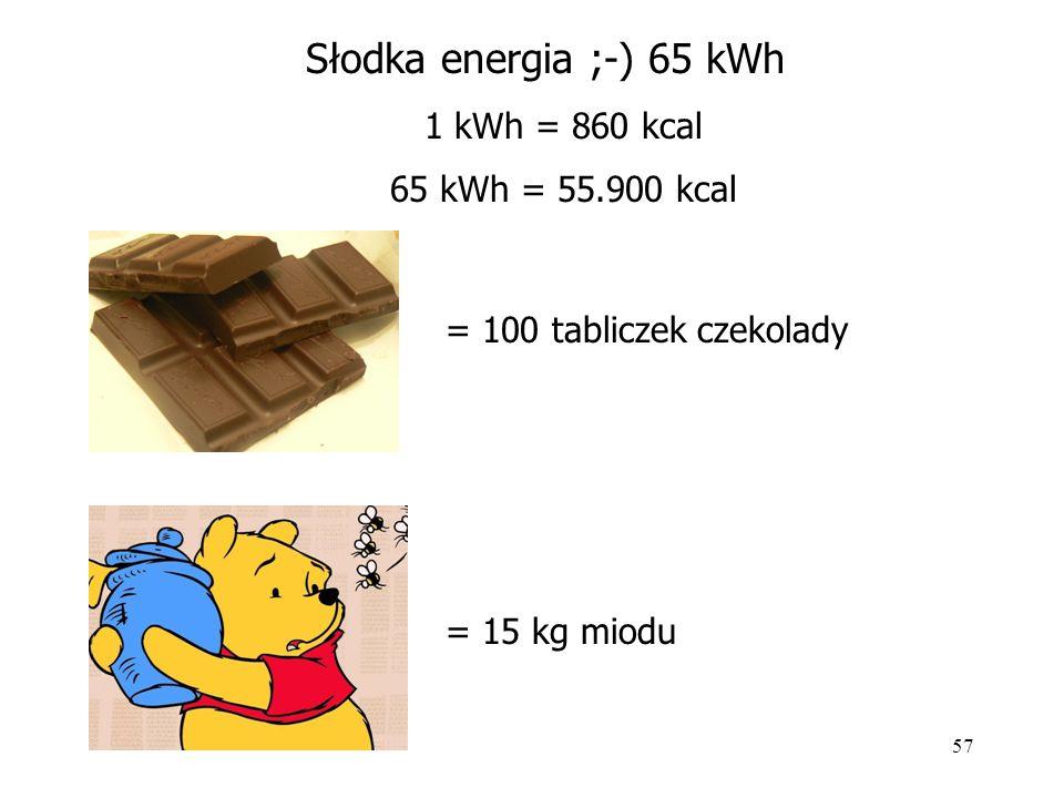 Słodka energia ;-) 65 kWh 1 kWh = 860 kcal 65 kWh = 55.900 kcal