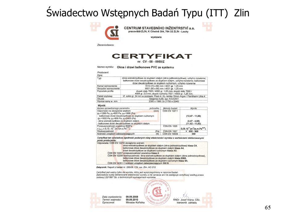 Świadectwo Wstępnych Badań Typu (ITT) Zlin