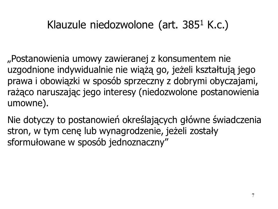 Klauzule niedozwolone (art. 3851 K.c.)