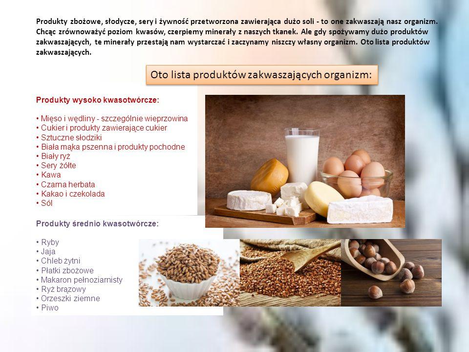 Oto lista produktów zakwaszających organizm: