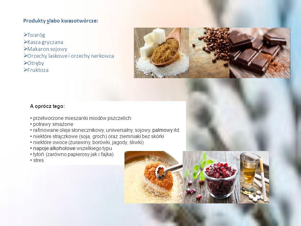Produkty słabo kwasotwórcze: Twaróg Kasza gryczana Makaron sojowy