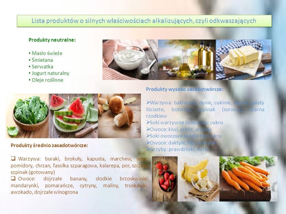Lista produktów o silnych właściwościach alkalizujących, czyli odkwaszających