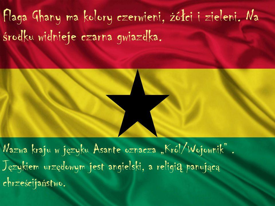 Flaga Ghany ma kolory czerwieni, żółci i zieleni