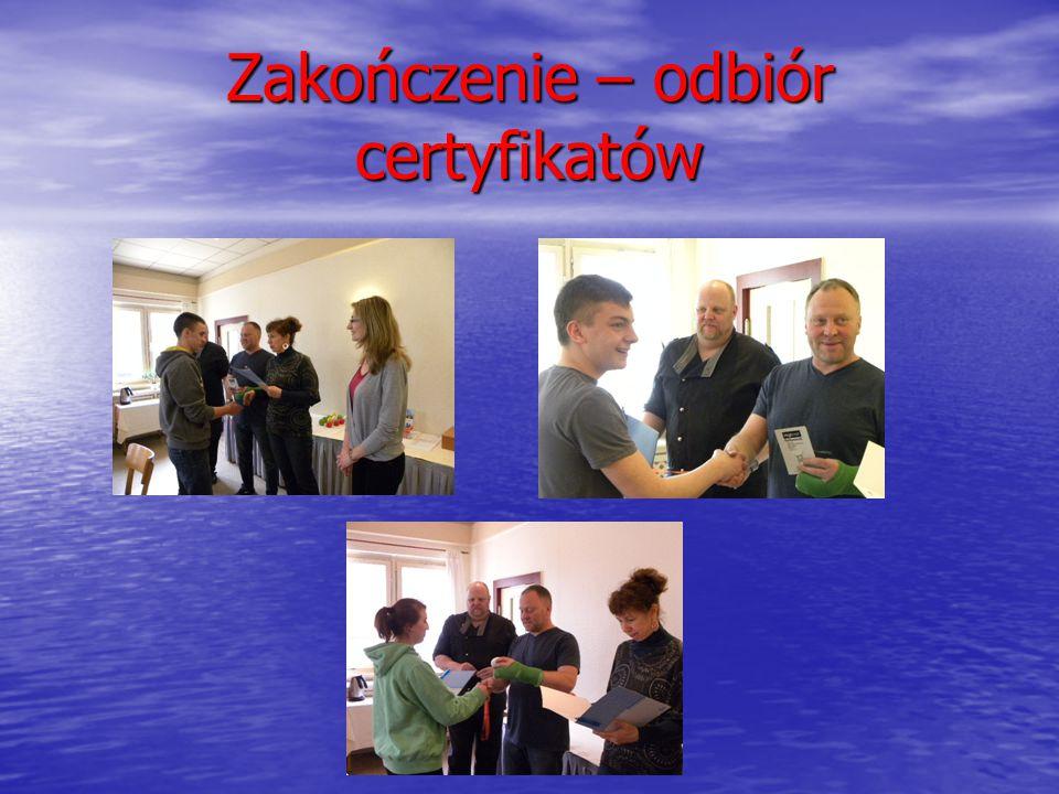 Zakończenie – odbiór certyfikatów