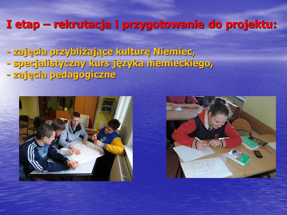 I etap – rekrutacja i przygotowanie do projektu: - zajęcia przybliżające kulturę Niemiec, - specjalistyczny kurs języka niemieckiego, - zajęcia pedagogiczne