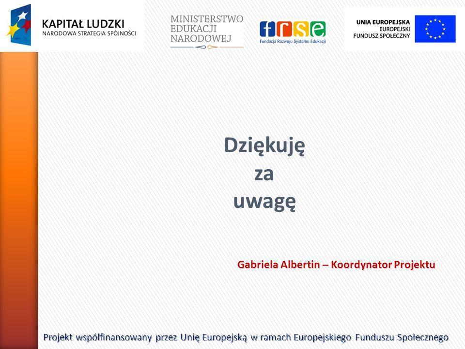 Dziękuję za uwagę Gabriela Albertin – Koordynator Projektu
