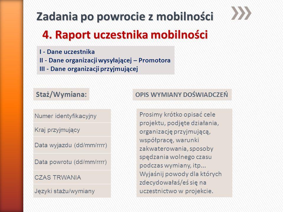 Zadania po powrocie z mobilności 4. Raport uczestnika mobilności