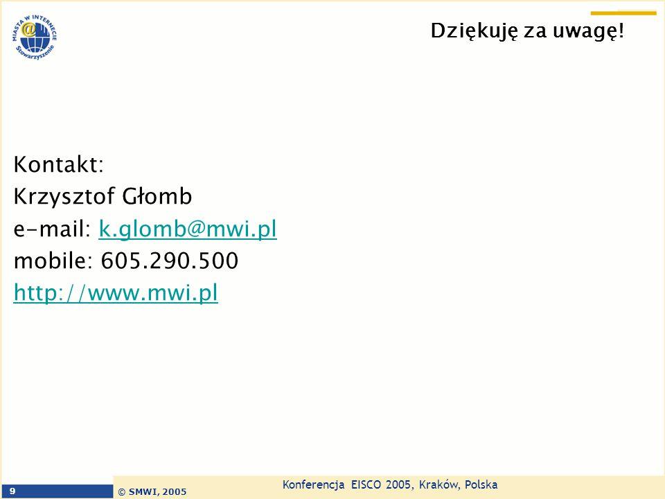 Kontakt: Krzysztof Głomb e-mail: k.glomb@mwi.pl mobile: 605.290.500
