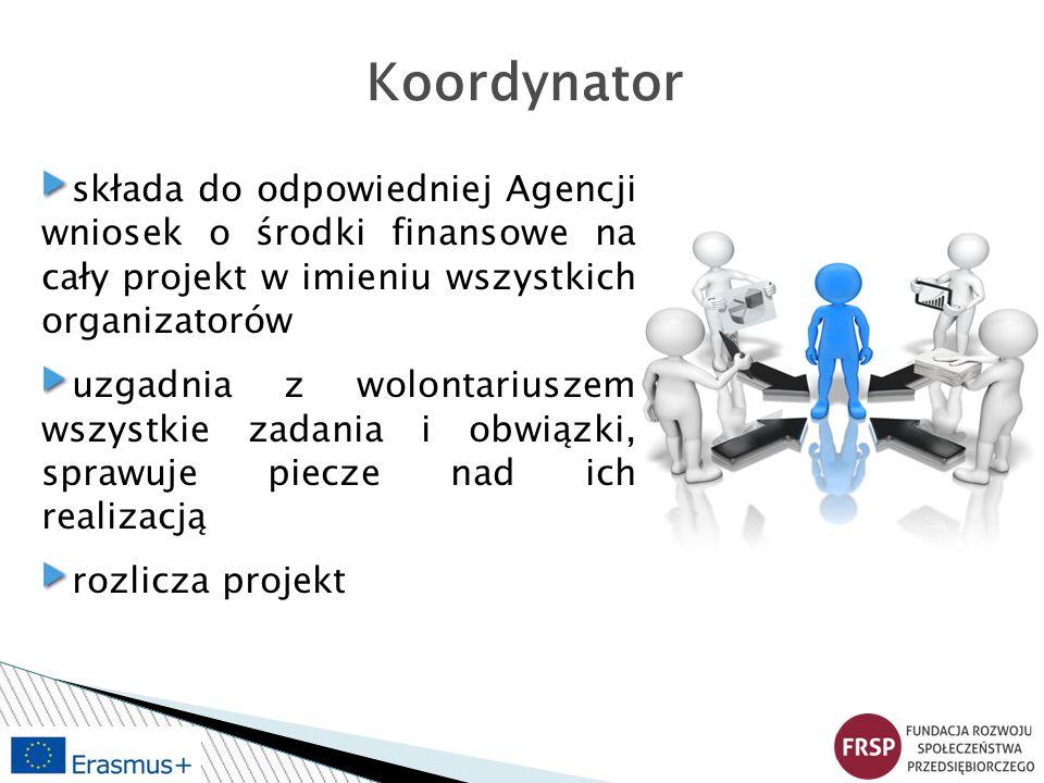Koordynator składa do odpowiedniej Agencji wniosek o środki finansowe na cały projekt w imieniu wszystkich organizatorów.