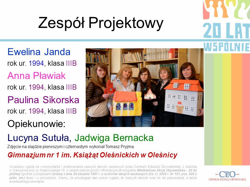 Zespół Projektowy Ewelina Janda Anna Pławiak Paulina Sikorska