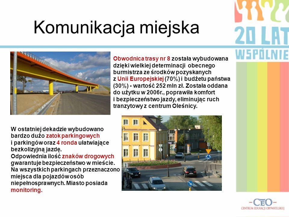 Komunikacja miejska Obwodnica trasy nr 8 została wybudowana dzięki wielkiej determinacji obecnego burmistrza ze środków pozyskanych.