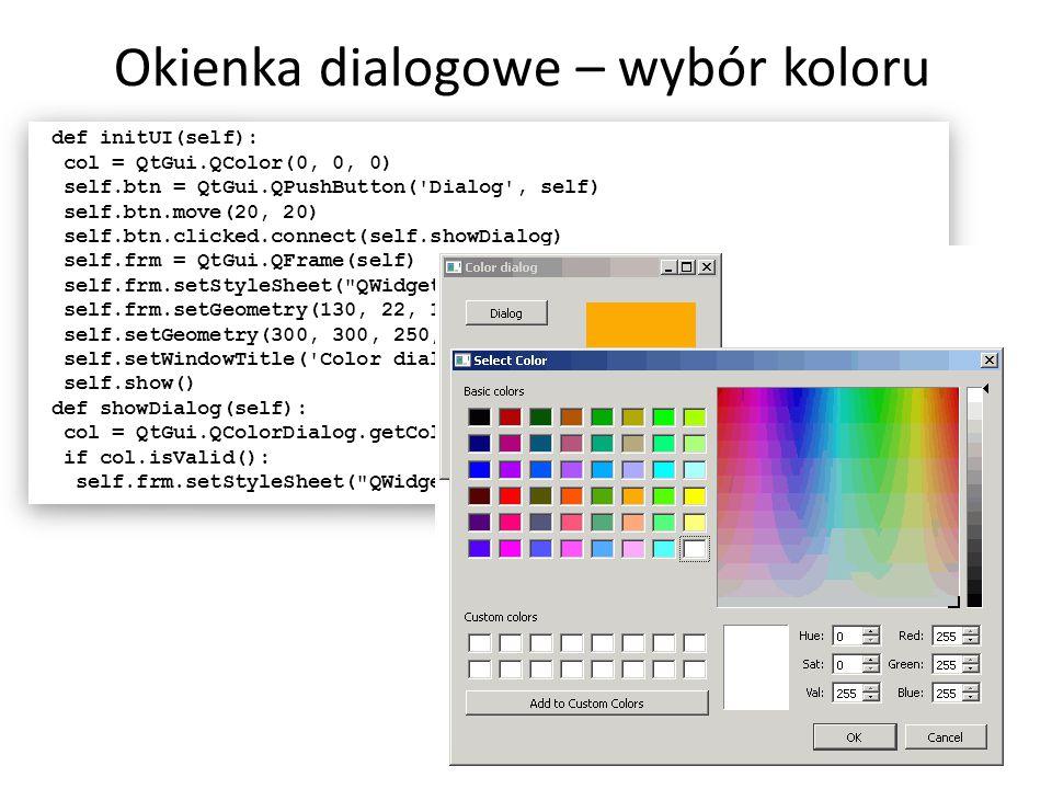 Okienka dialogowe – wybór koloru