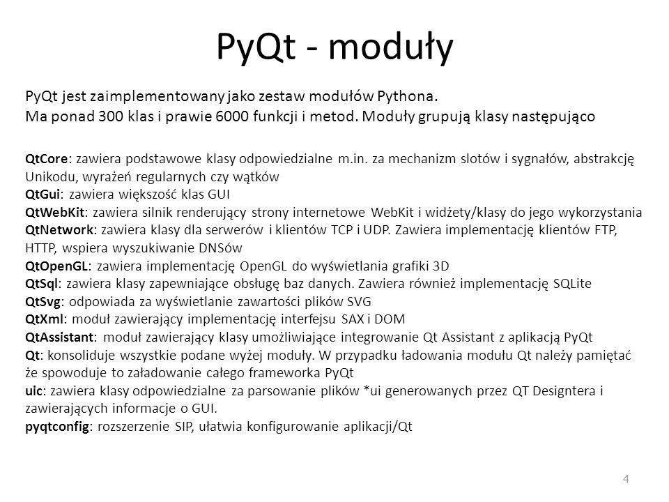 PyQt - moduły PyQt jest zaimplementowany jako zestaw modułów Pythona.
