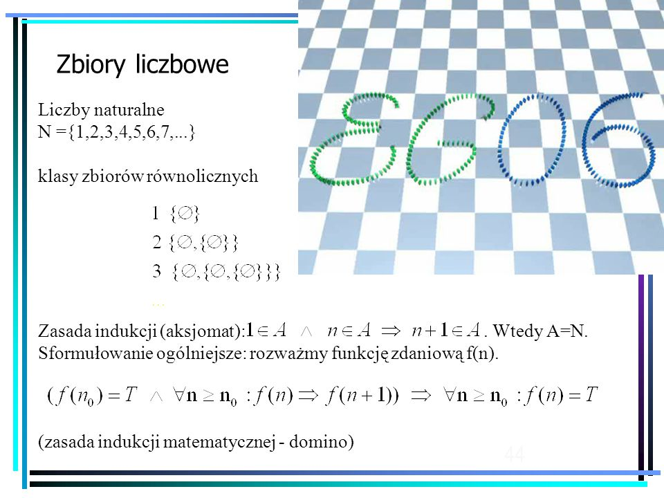 Zbiory liczbowe Liczby naturalne N ={1,2,3,4,5,6,7,...}