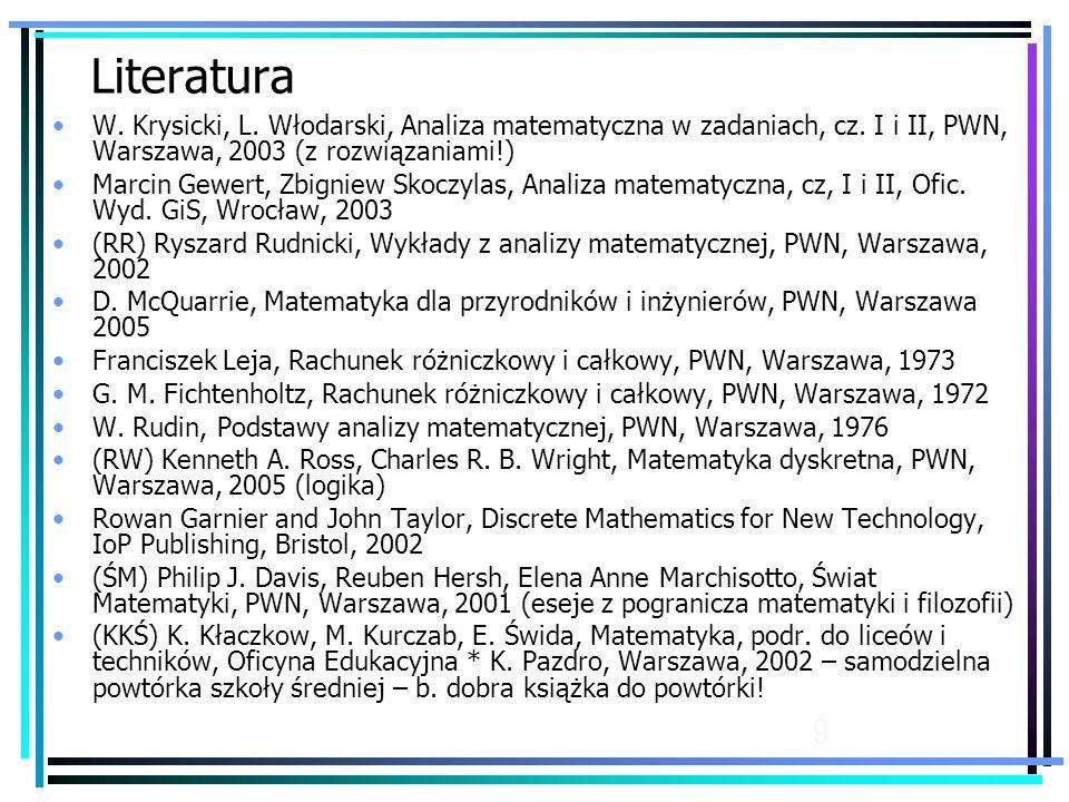 Literatura W. Krysicki, L. Włodarski, Analiza matematyczna w zadaniach, cz. I i II, PWN, Warszawa, 2003 (z rozwiązaniami!)