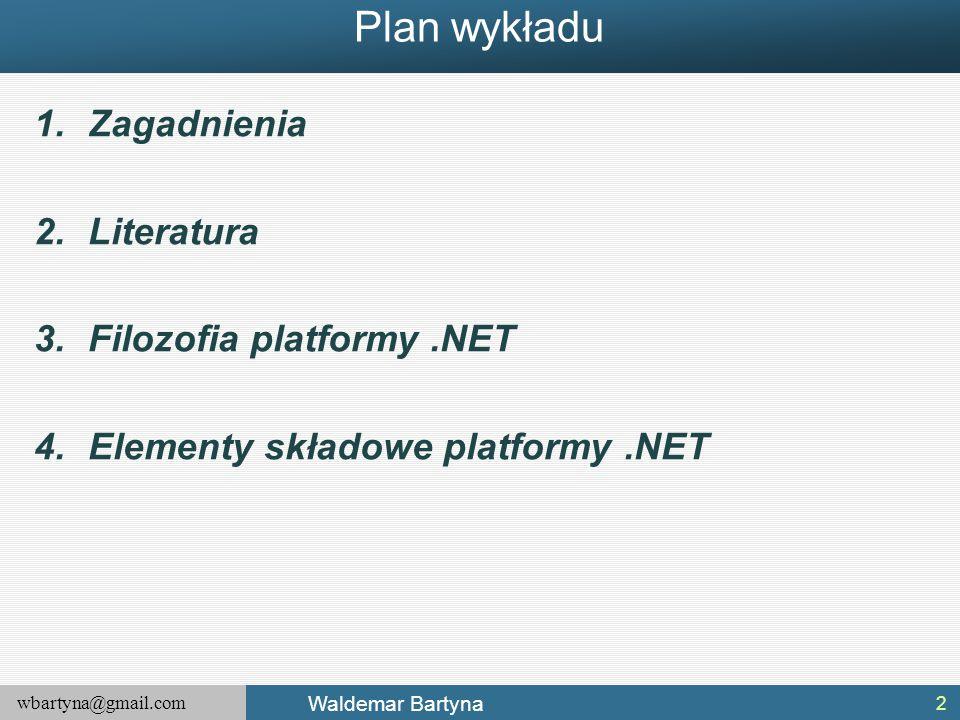 Plan wykładu Zagadnienia Literatura Filozofia platformy .NET