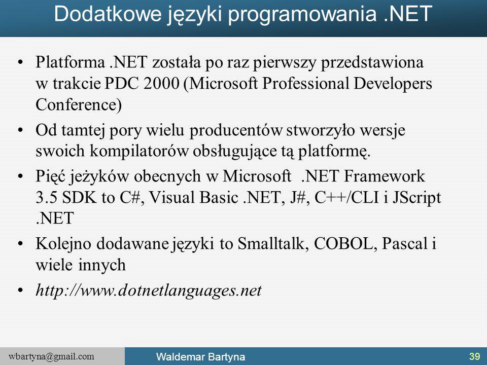 Dodatkowe języki programowania .NET