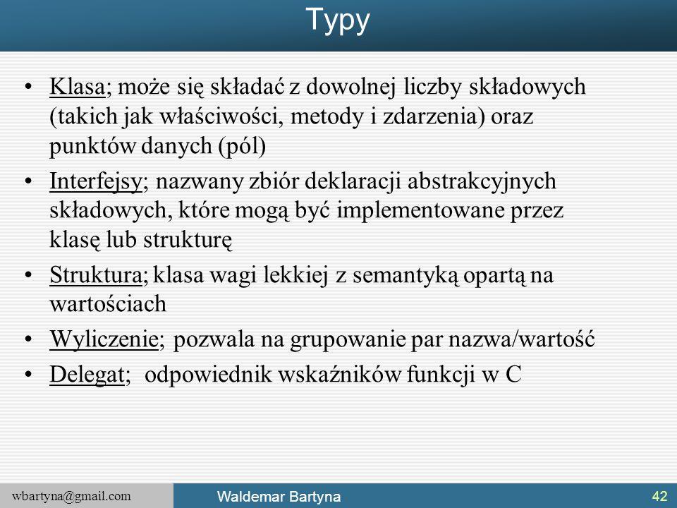 Typy Klasa; może się składać z dowolnej liczby składowych (takich jak właściwości, metody i zdarzenia) oraz punktów danych (pól)