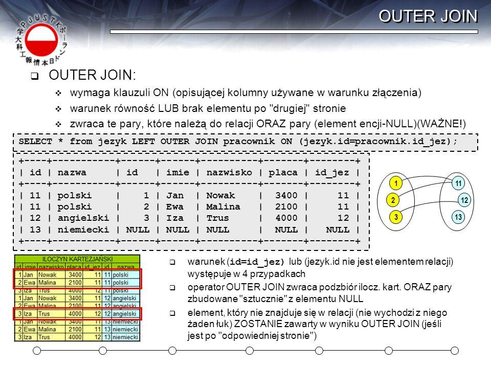 OUTER JOIN OUTER JOIN: wymaga klauzuli ON (opisującej kolumny używane w warunku złączenia) warunek równość LUB brak elementu po drugiej stronie.
