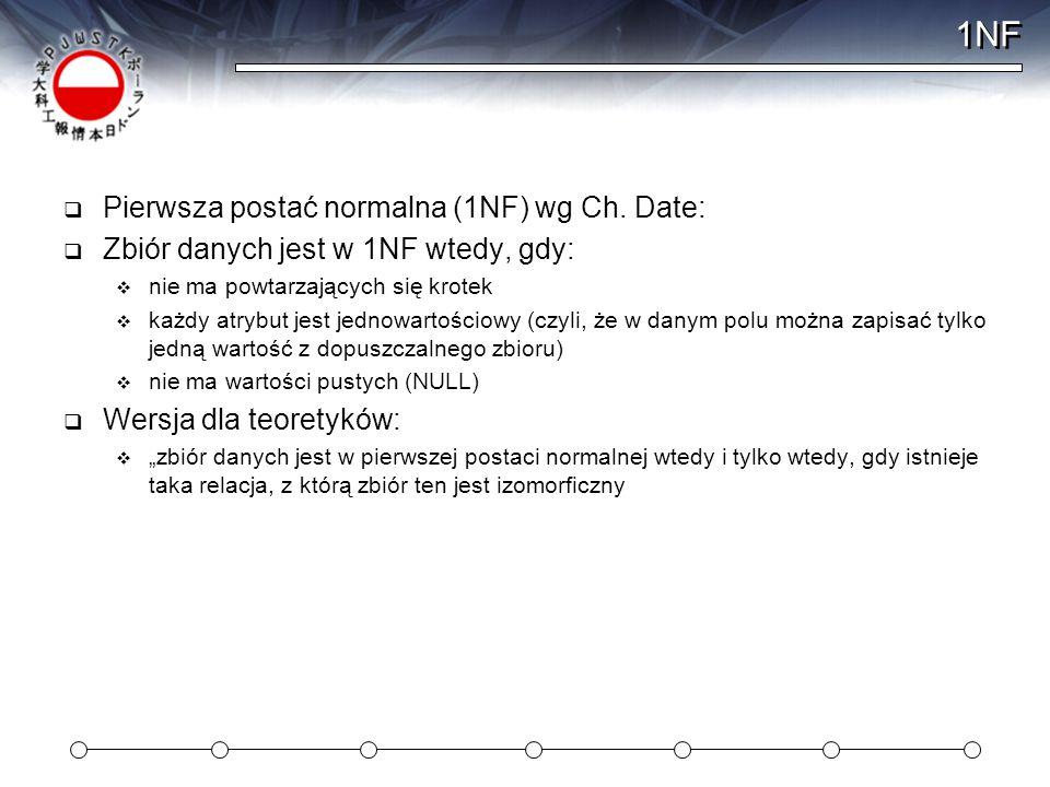 1NF Pierwsza postać normalna (1NF) wg Ch. Date: