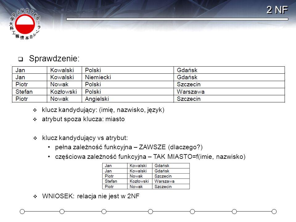 2 NF Sprawdzenie: klucz kandydujący: (imię, nazwisko, język)