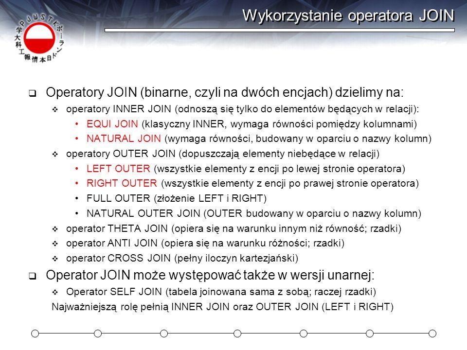 Wykorzystanie operatora JOIN
