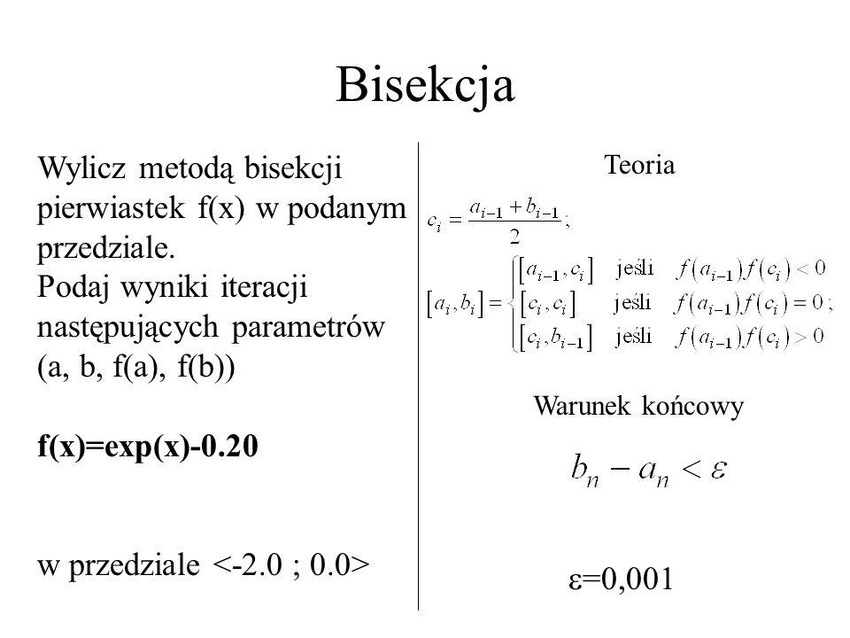 Bisekcja Wylicz metodą bisekcji pierwiastek f(x) w podanym przedziale.